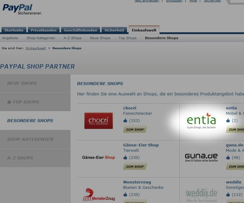 """entia ist bei Paypal als """"besonderer Shop"""" gelistet."""