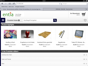 entia-Shop in der iPad-Ansicht.